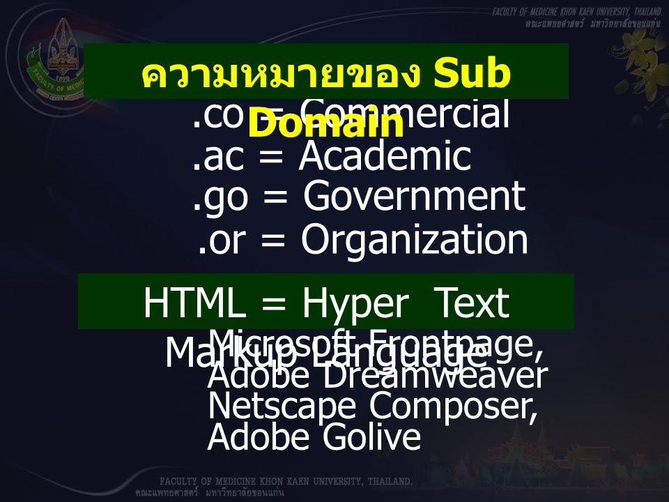 ความหมายของ Sub Domain