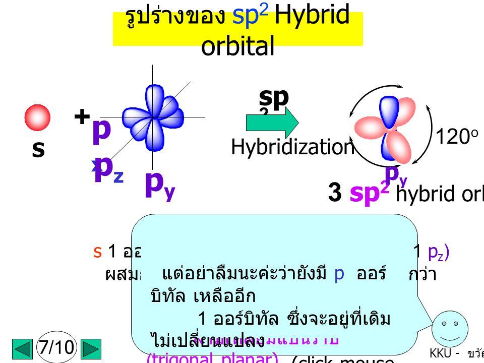 px pz py + sp2 3 sp2 hybrid orbitals รูปร่างของ sp2 Hybrid orbital py