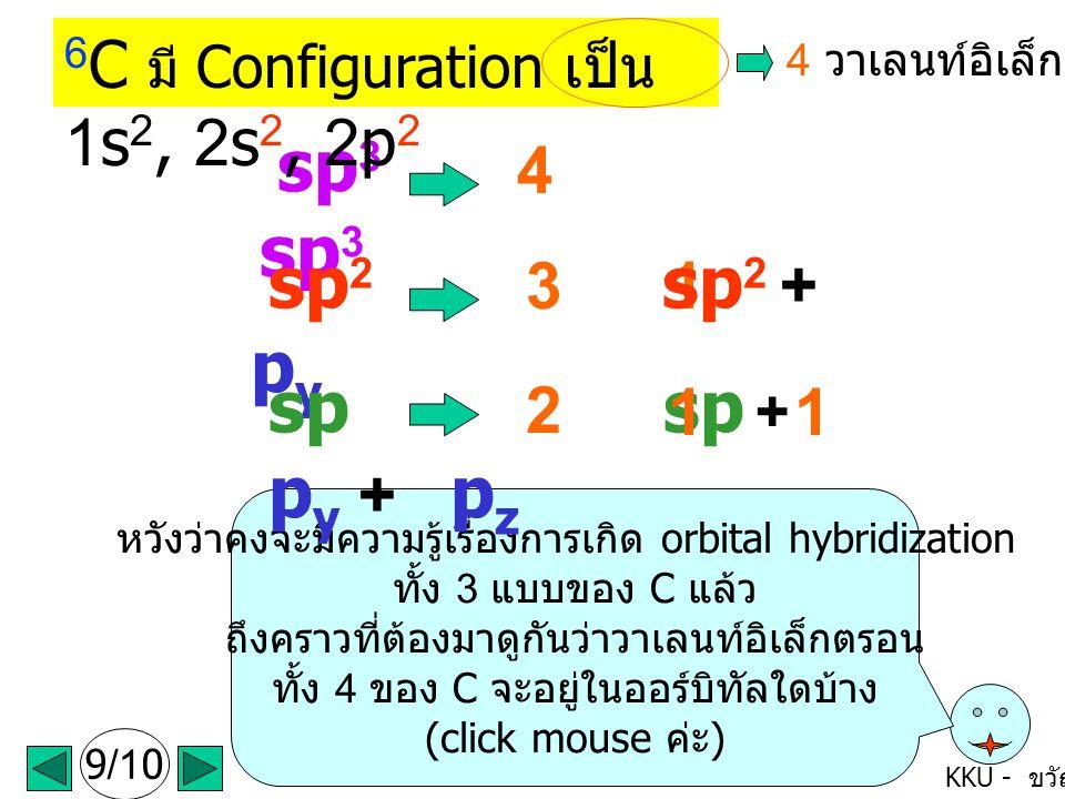 sp sp + py + pz 6C มี Configuration เป็น 1s2, 2s2, 2p2 sp3 sp3