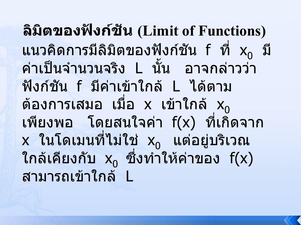 ลิมิตของฟังก์ชัน (Limit of Functions)