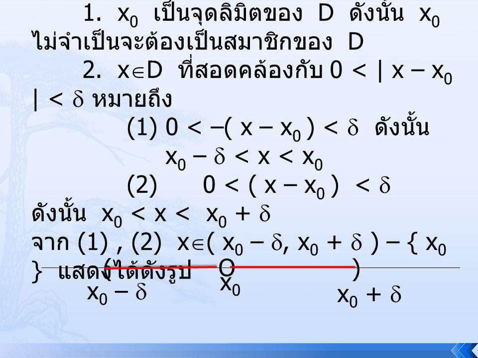 ข้อสังเกต 1. x0 เป็นจุดลิมิตของ D ดังนั้น x0 ไม่จำเป็นจะต้องเป็นสมาชิกของ D. 2. xD ที่สอดคล้องกับ 0 < | x – x0 | <  หมายถึง.