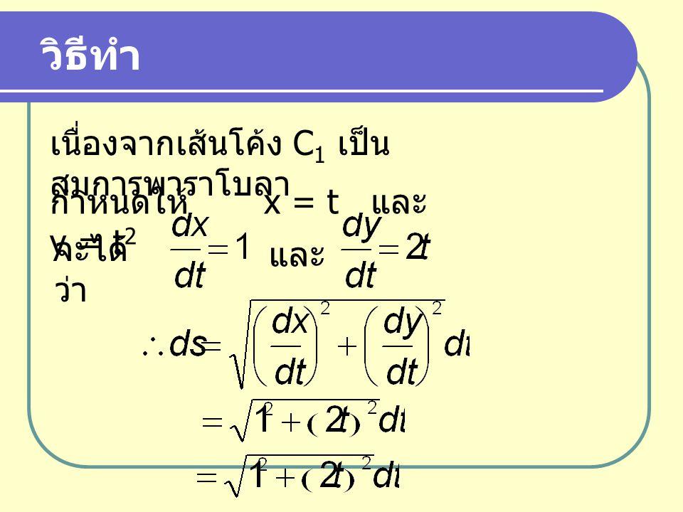 วิธีทำ เนื่องจากเส้นโค้ง C1 เป็นสมการพาราโบลา