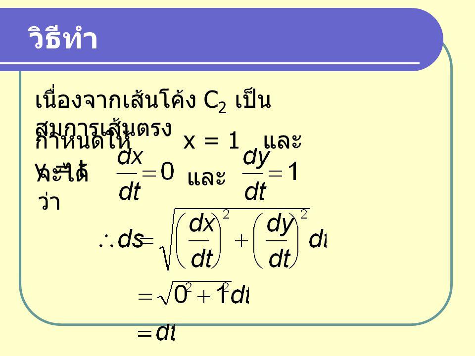 วิธีทำ เนื่องจากเส้นโค้ง C2 เป็นสมการเส้นตรง กำหนดให้ x = 1 และ y = t