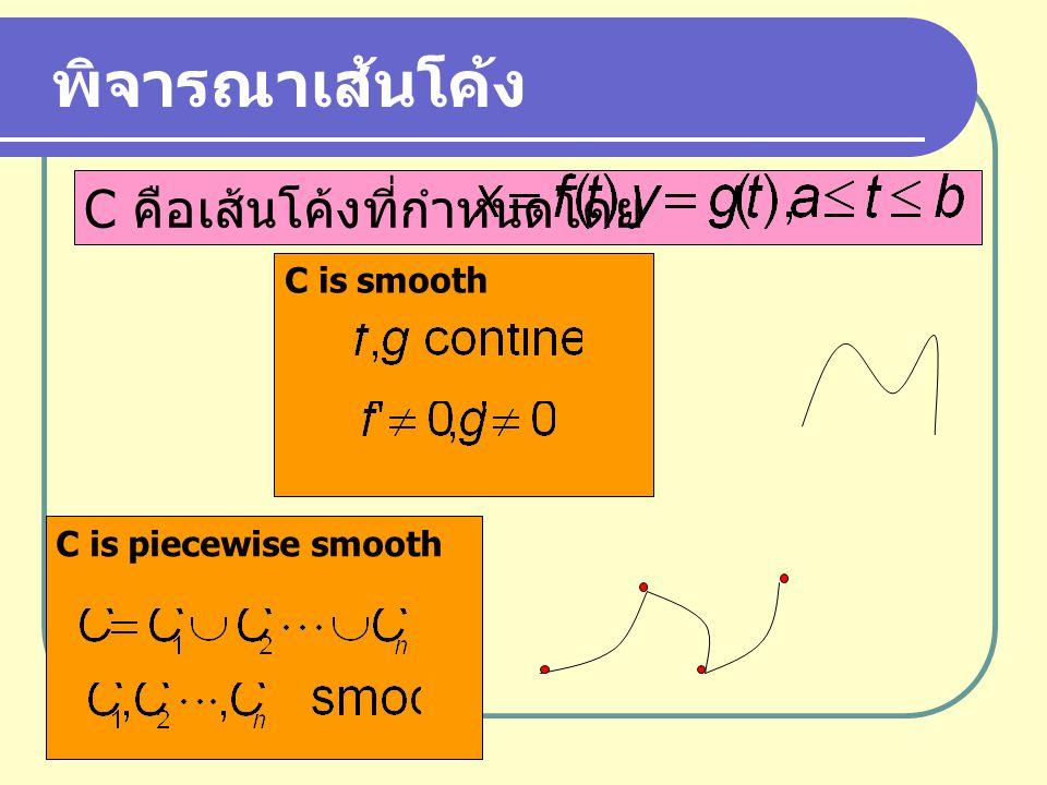 พิจารณาเส้นโค้ง C คือเส้นโค้งที่กำหนดโดย C is smooth