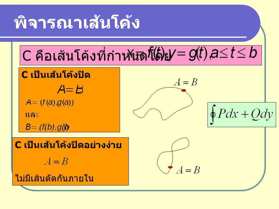 พิจารณาเส้นโค้ง C คือเส้นโค้งที่กำหนดโดย C เป็นเส้นโค้งปิด