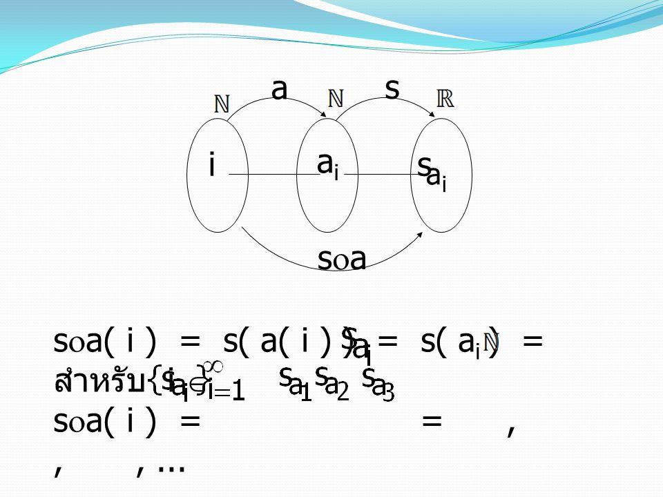 sa( i ) = s( a( i ) ) = s( ai ) = สำหรับ i  sa( i ) = = , , , ...