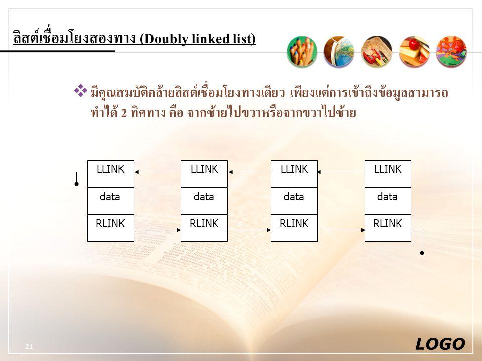 ลิสต์เชื่อมโยงสองทาง (Doubly linked list)
