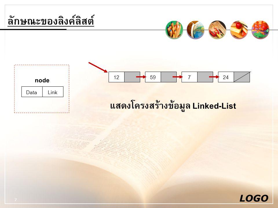 แสดงโครงสร้างข้อมูล Linked-List