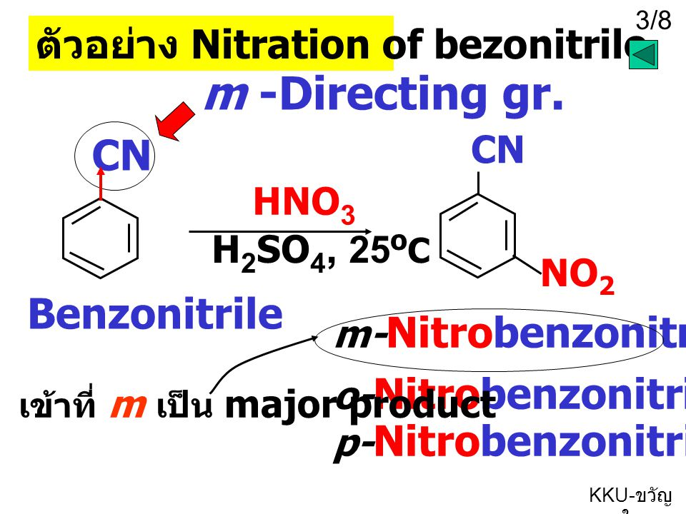 m -Directing gr. CN Benzonitrile ตัวอย่าง Nitration of bezonitrile CN