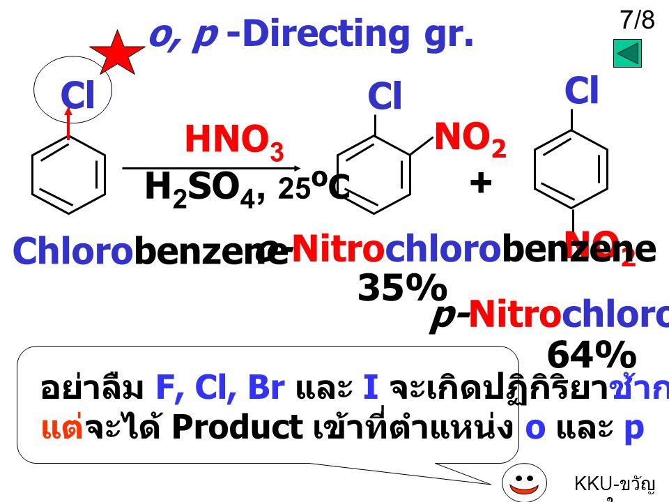 + o, p -Directing gr. Cl NO2 o-Nitrochlorobenzene 35%