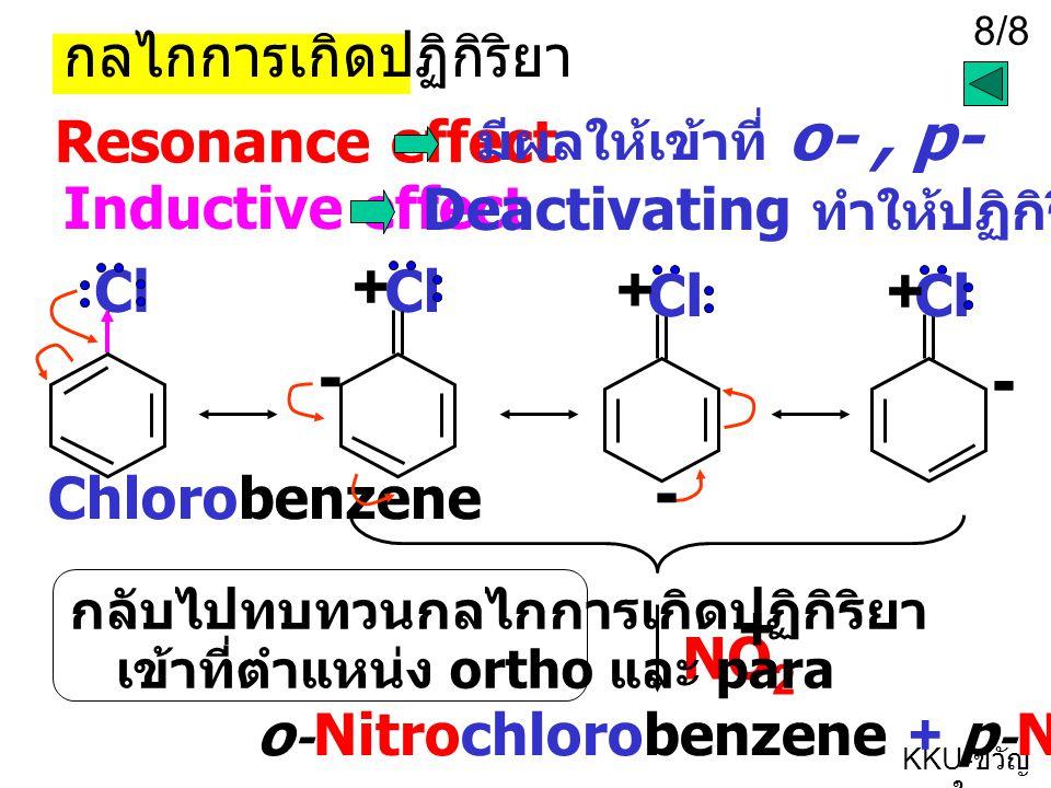 - - - + + + + กลไกการเกิดปฏิกิริยา Resonance effect Inductive effect