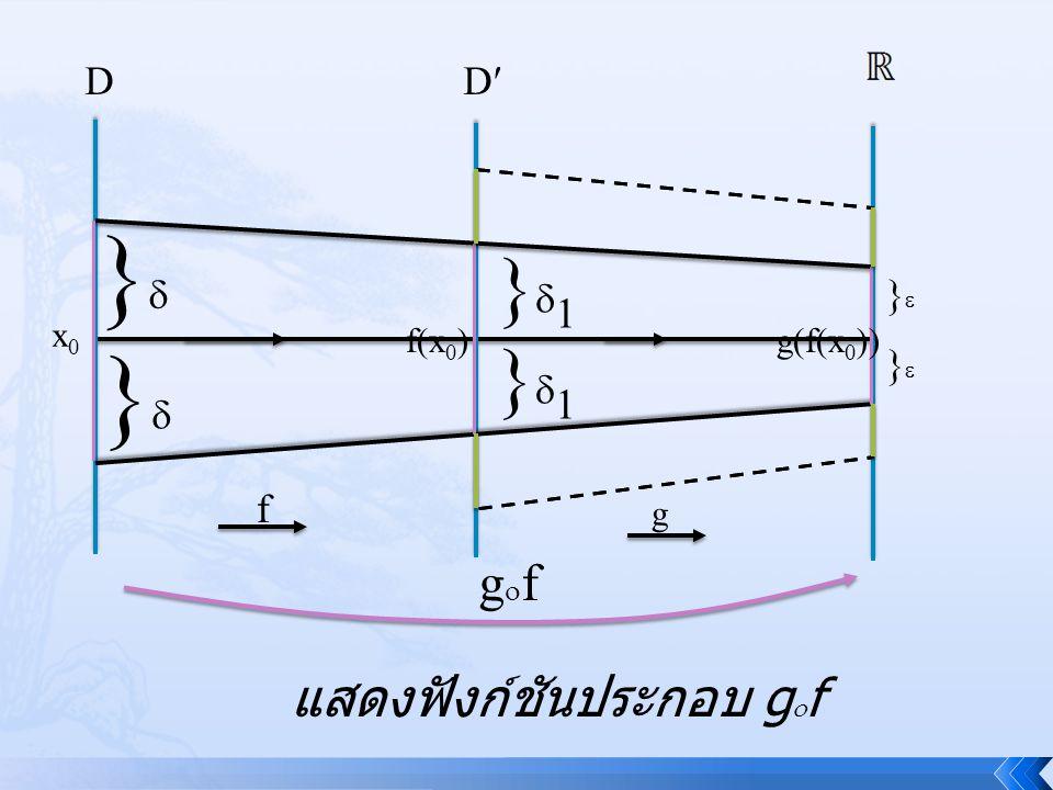 } } }1 }1 gf แสดงฟังก์ชันประกอบ gf D D } } f x0 f(x0)