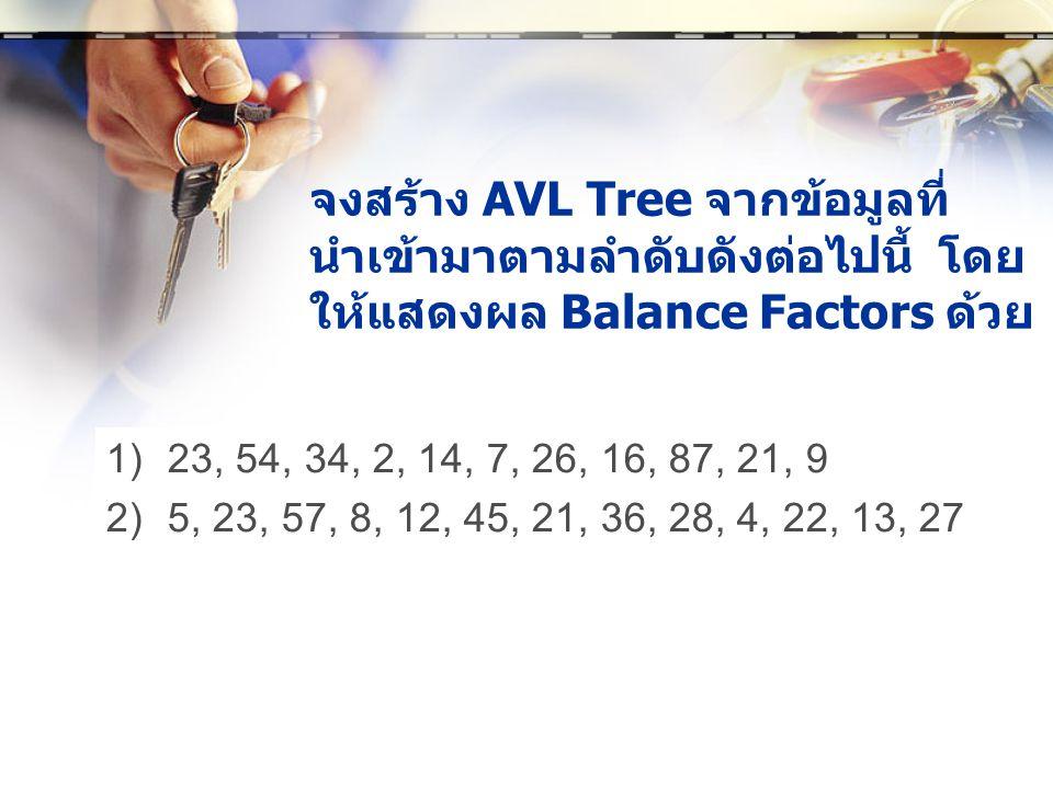 จงสร้าง AVL Tree จากข้อมูลที่นำเข้ามาตามลำดับดังต่อไปนี้ โดยให้แสดงผล Balance Factors ด้วย