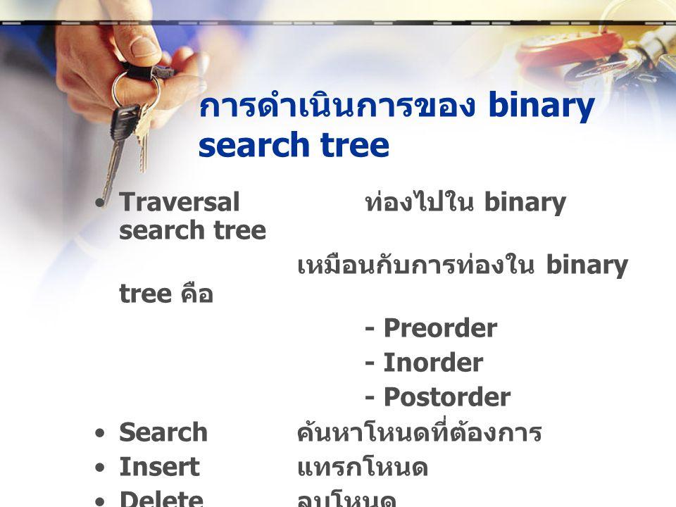 การดำเนินการของ binary search tree