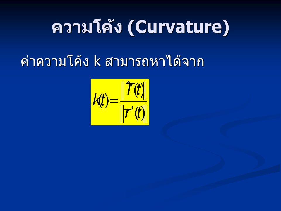 ความโค้ง (Curvature) ค่าความโค้ง k สามารถหาได้จาก