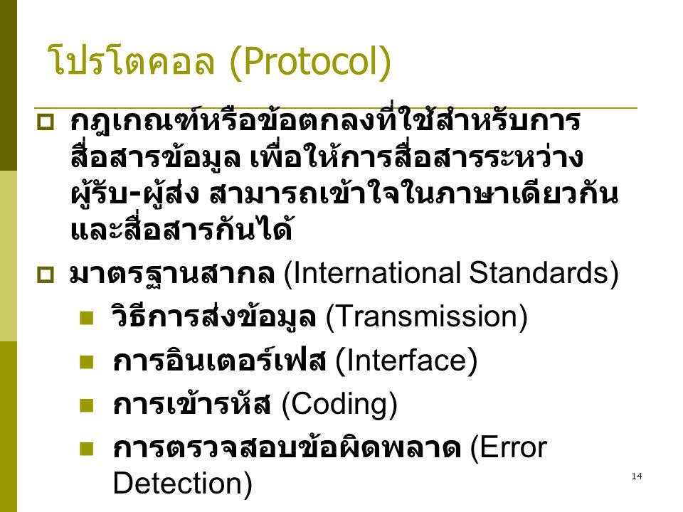 โปรโตคอล (Protocol) กฎเกณฑ์หรือข้อตกลงที่ใช้สำหรับการสื่อสารข้อมูล เพื่อให้การสื่อสารระหว่างผู้รับ-ผู้ส่ง สามารถเข้าใจในภาษาเดียวกันและสื่อสารกันได้