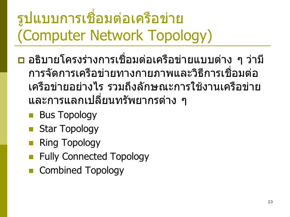 รูปแบบการเชื่อมต่อเครือข่าย (Computer Network Topology)