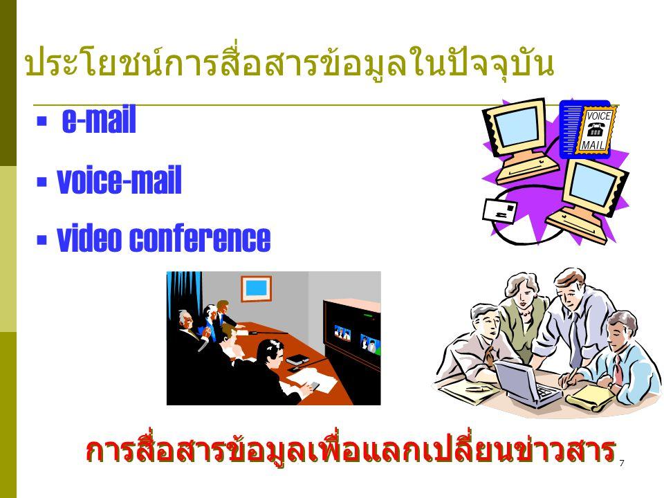 e-mail voice-mail video conference ประโยชน์การสื่อสารข้อมูลในปัจจุบัน