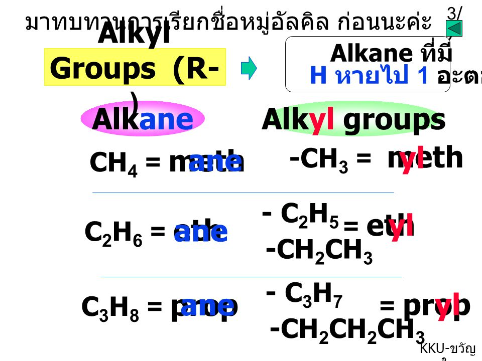 Alkyl Groups (R-) Alkane Alkyl groups