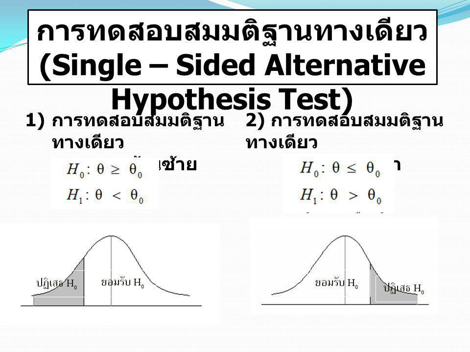 การทดสอบสมมติฐานทางเดียว (Single – Sided Alternative Hypothesis Test)