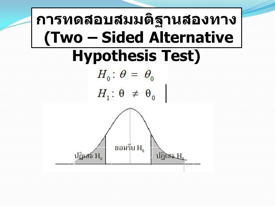 การทดสอบสมมติฐานสองทาง (Two – Sided Alternative Hypothesis Test)