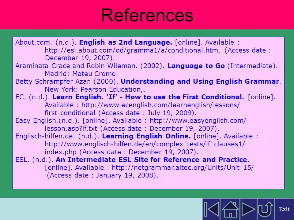 References About.com. (n.d.). English as 2nd Language. [online]. Available :   (Access date :