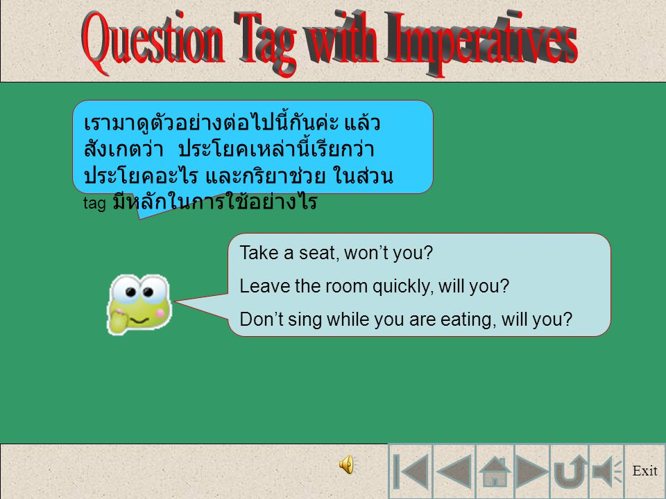 Question Tag with Imperatives