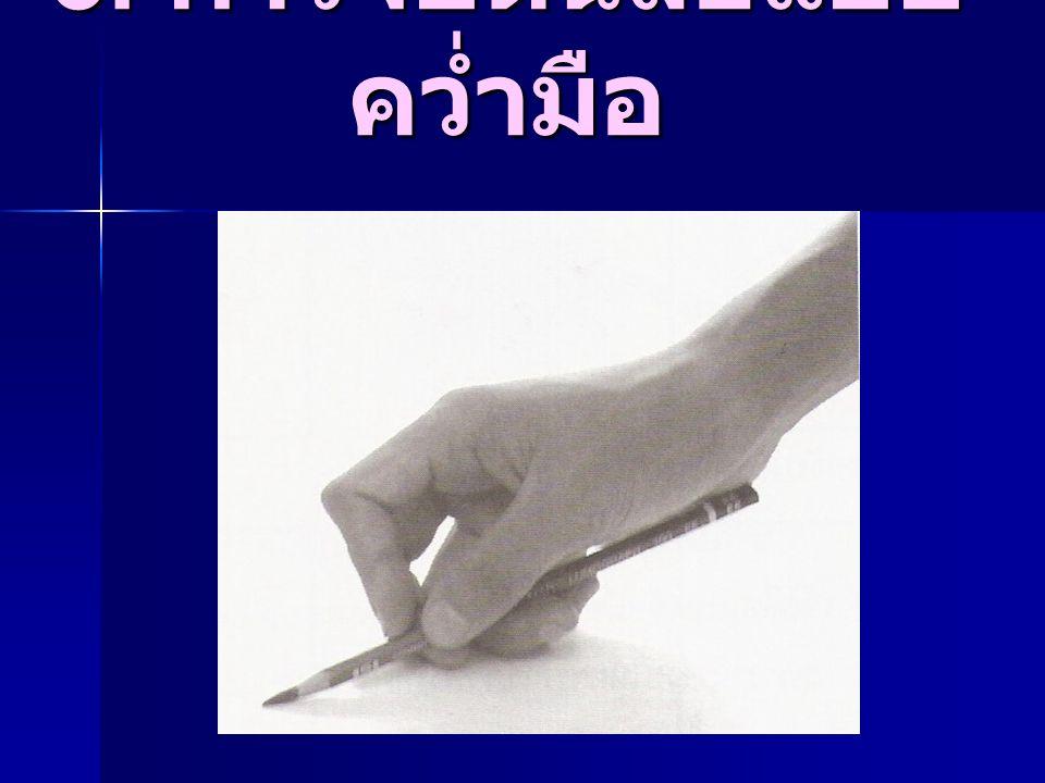 3. การจับดินสอแบบคว่ำมือ