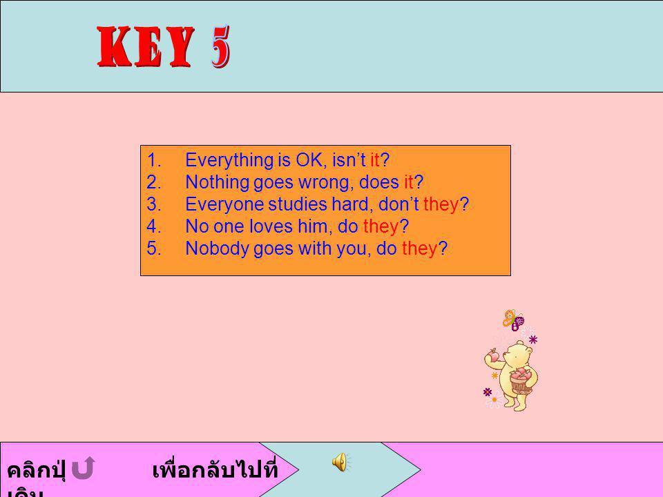 Key 5 คลิกปุ่ม เพื่อกลับไปที่เดิม Everything is OK, isn't it