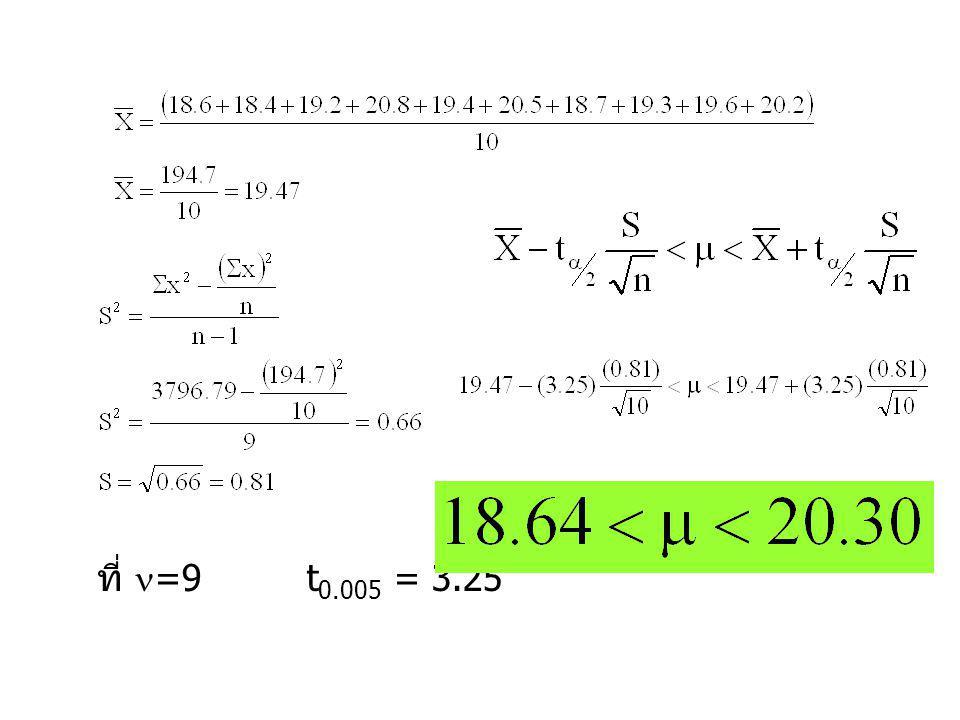 ที่ =9 t0.005 = 3.25