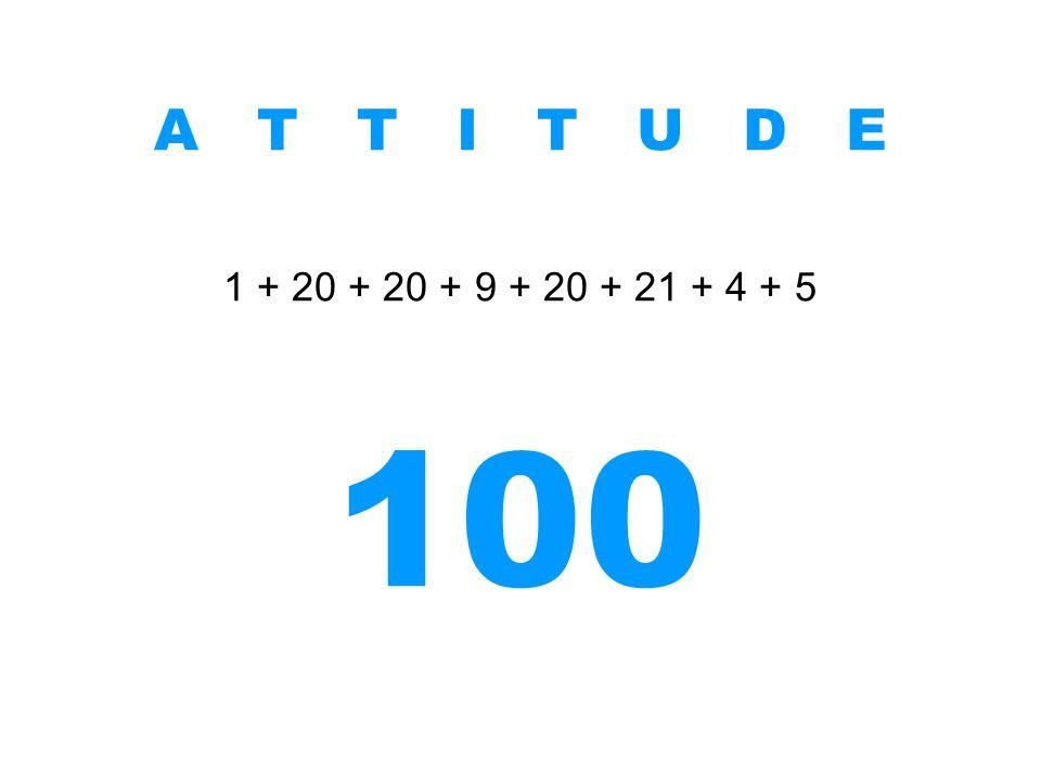 A T T I T U D E 1 + 20 + 20 + 9 + 20 + 21 + 4 + 5 100