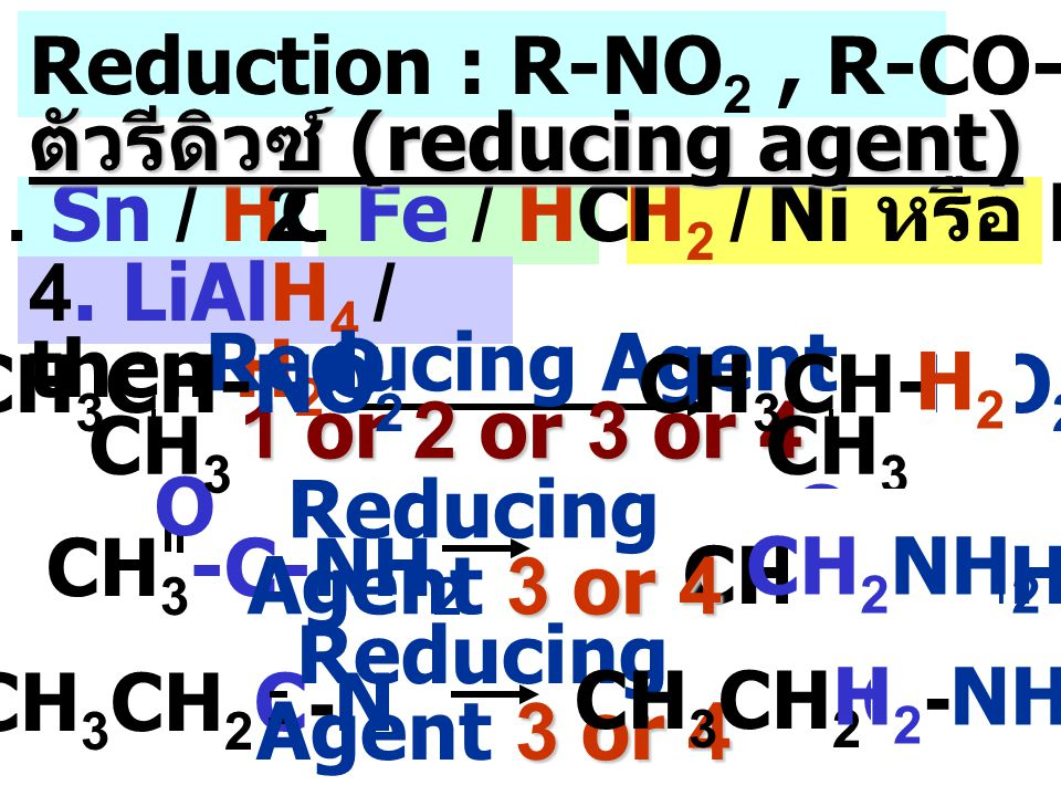 Reduction : R-NO2 , R-CO-NH2 , R-CN