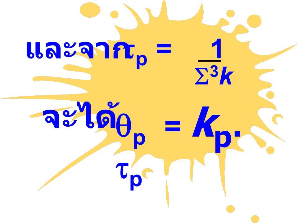 และจาก tp = 1 S3k จะได้ qp = kp. tp