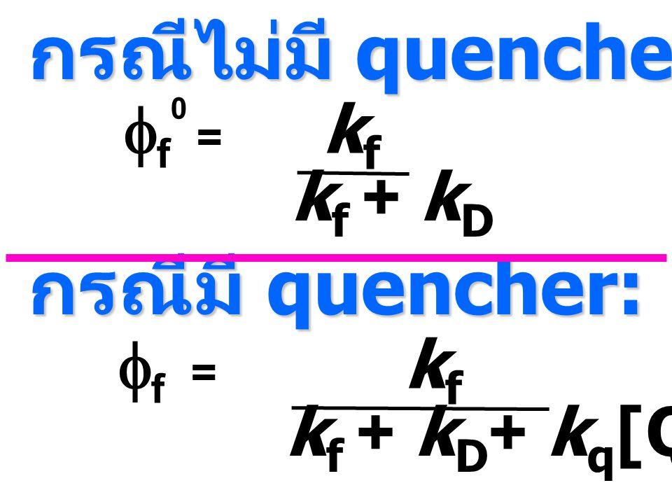 กรณีไม่มี quencher: กรณีมี quencher: ff0 = kf kf + kD ff = kf