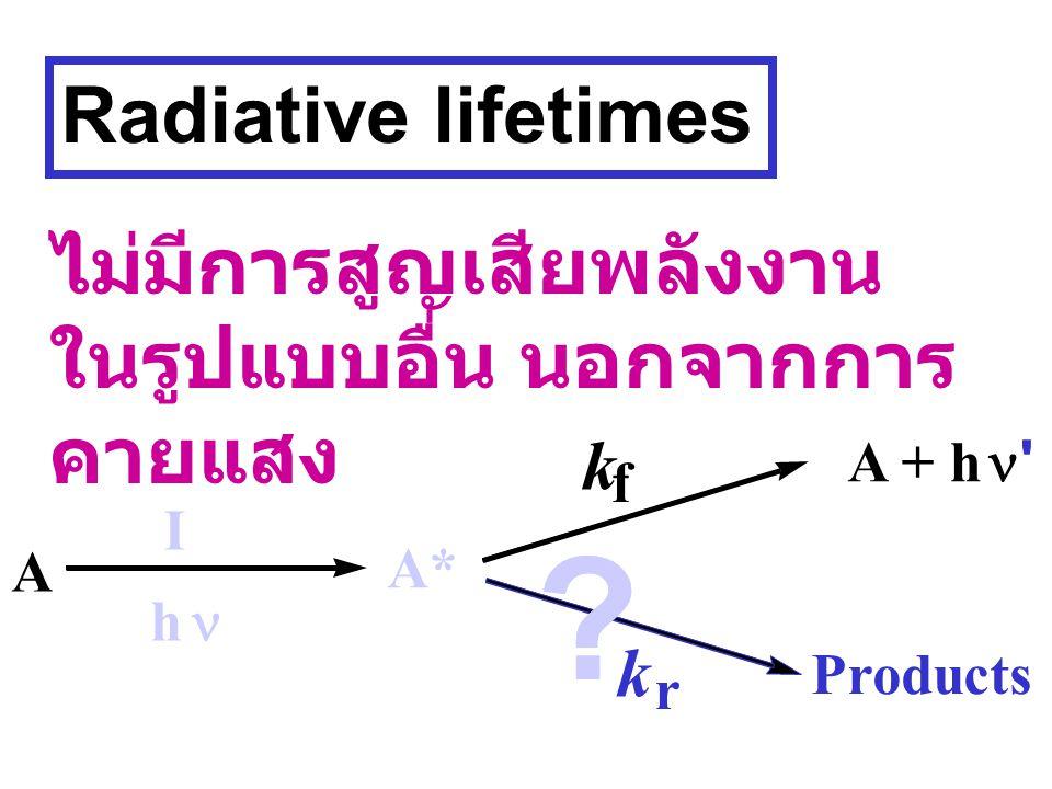 Radiative lifetimes ไม่มีการสูญเสียพลังงานในรูปแบบอื่น นอกจากการคายแสง. k. A + h. n. f. I.