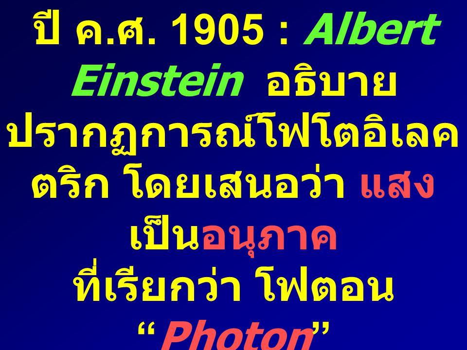 ที่เรียกว่า โฟตอน Photon และใช้ทฤษฎีของ Planck