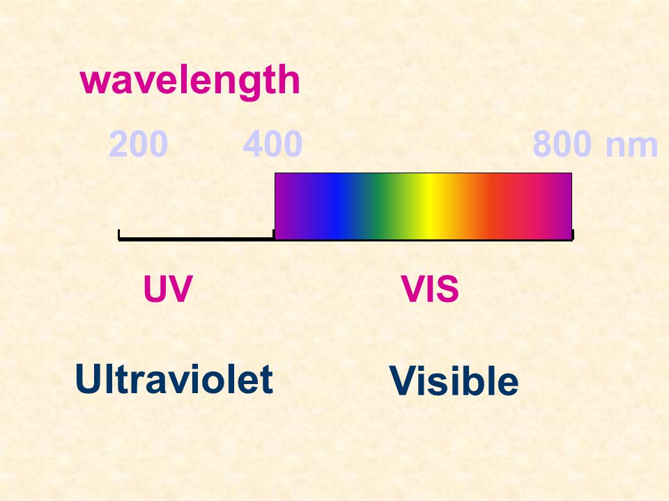 wavelength 200 400 800 nm UV VIS Ultraviolet Visible