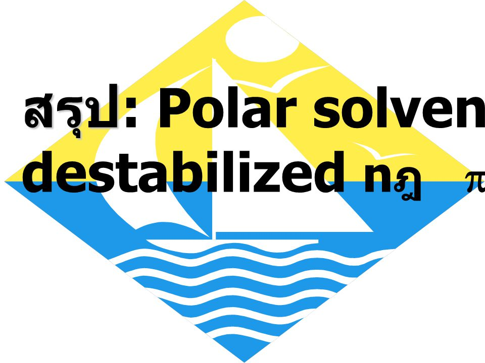 สรุป: Polar solvent จะ destabilized nฎ p*transition