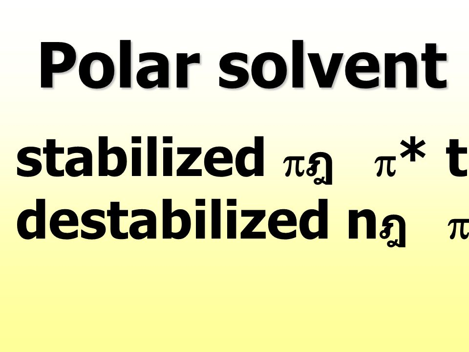 Polar solvent stabilized pฎ p* transition
