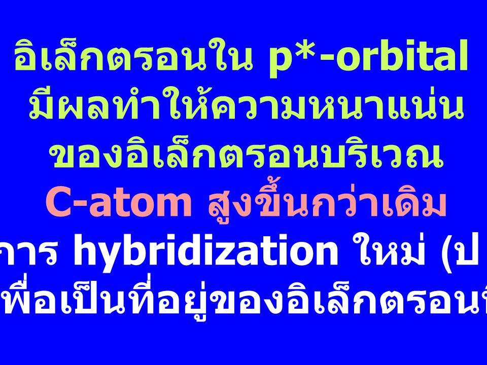 อิเล็กตรอนใน p*-orbital มีผลทำให้ความหนาแน่น ของอิเล็กตรอนบริเวณ