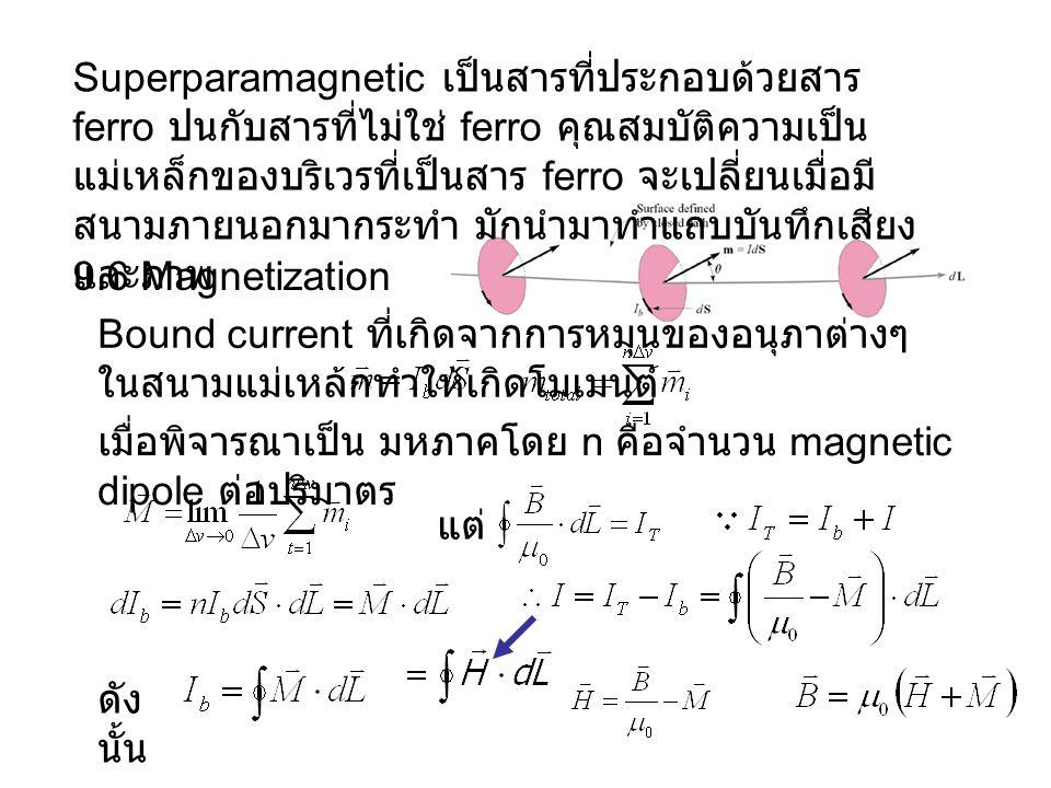 Superparamagnetic เป็นสารที่ประกอบด้วยสาร ferro ปนกับสารที่ไม่ใช่ ferro คุณสมบัติความเป็นแม่เหล็กของบริเวรที่เป็นสาร ferro จะเปลี่ยนเมื่อมีสนามภายนอกมากระทำ มักนำมาทำแถบบันทึกเสียงและภาพ
