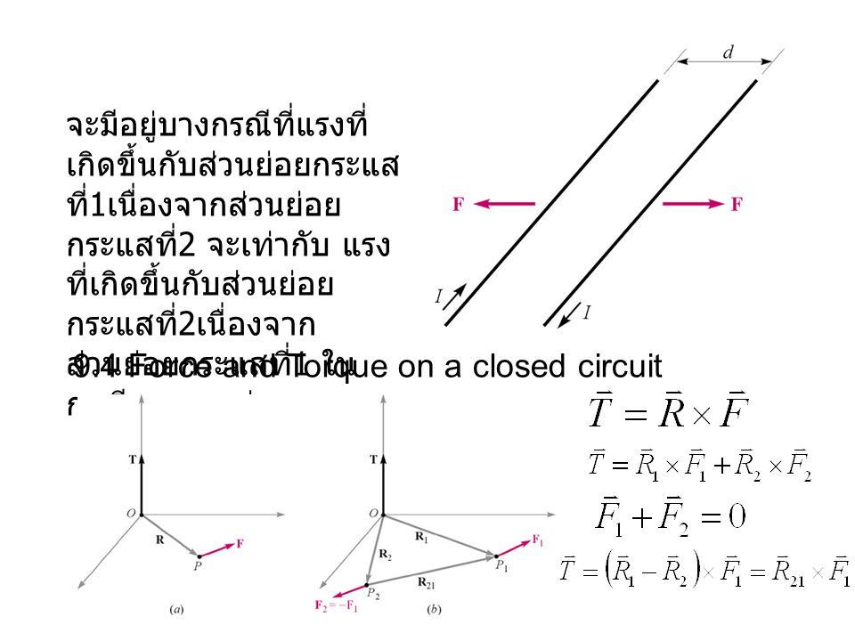 จะมีอยู่บางกรณีที่แรงที่เกิดขึ้นกับส่วนย่อยกระแสที่1เนื่องจากส่วนย่อยกระแสที่2 จะเท่ากับ แรงที่เกิดขึ้นกับส่วนย่อยกระแสที่2เนื่องจากส่วนย่อยกระแสที่1 ในกรณีของแรงคู่ควบ