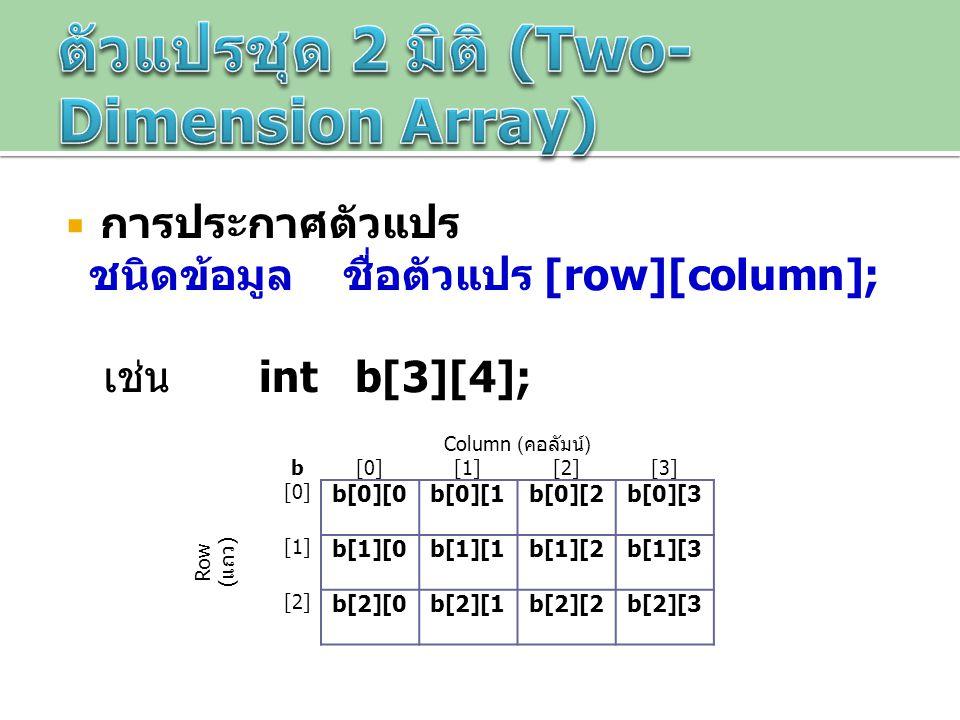 ตัวแปรชุด 2 มิติ (Two-Dimension Array)