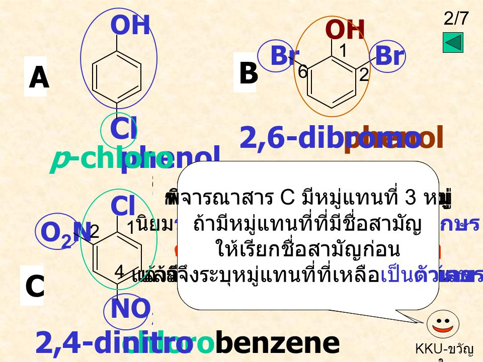 Cl B A 2,6-dibromo phenol heno p-chloro phenol C 2,4-dinitro