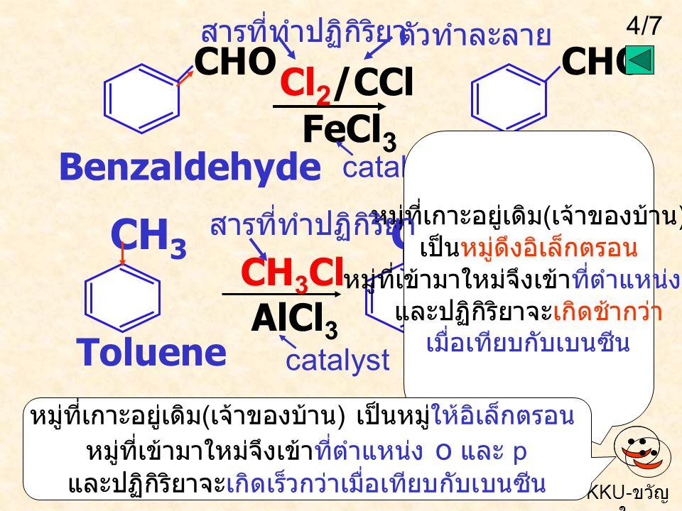 Cl CH3 CH3 Cl2/CCl4 FeCl3 Benzaldehyde CHO CHO CH3Cl AlCl3 Toluene +