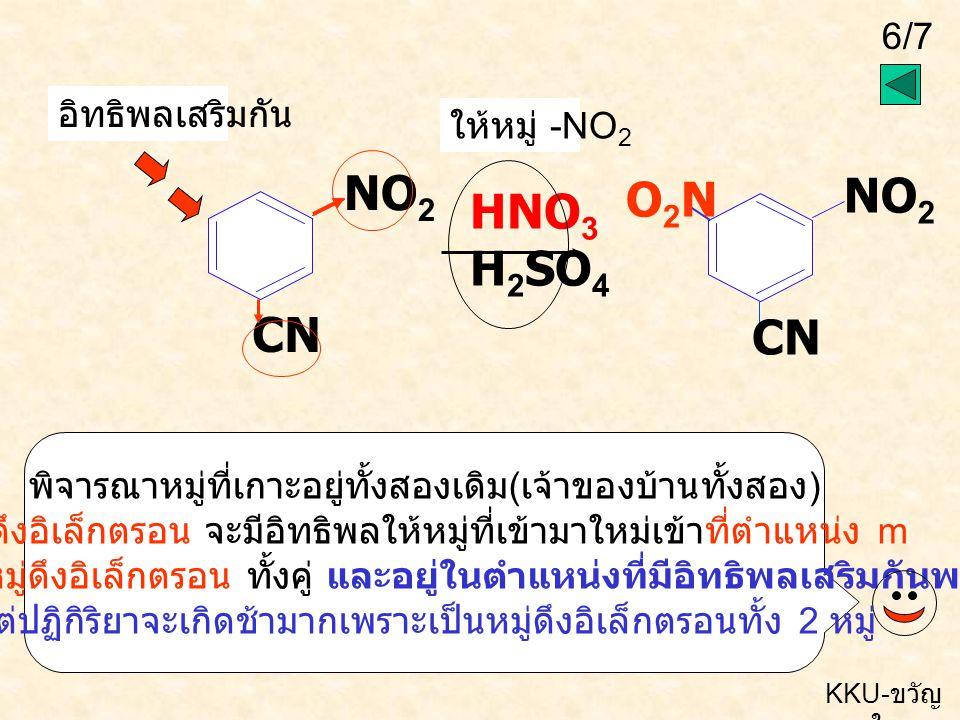NO2 NO2 O2N HNO3 H2SO4 CN CN อิทธิพลเสริมกัน ให้หมู่ -NO2