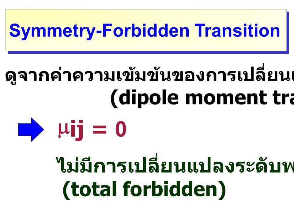mij = 0 ไม่มีการเปลี่ยนแปลงระดับพลังงาน (total forbidden)