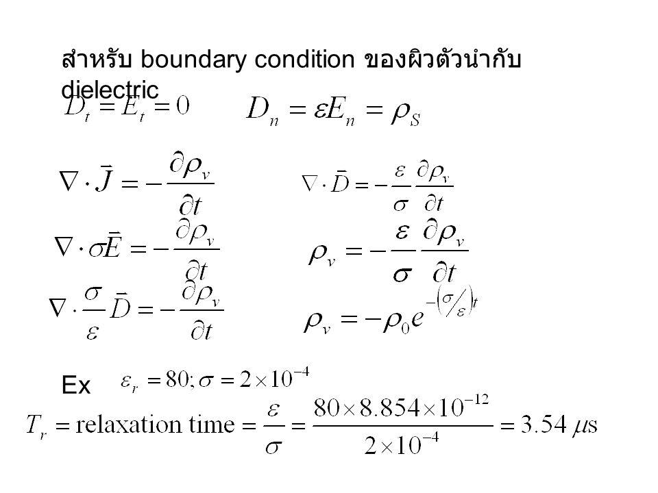 สำหรับ boundary condition ของผิวตัวนำกับ dielectric