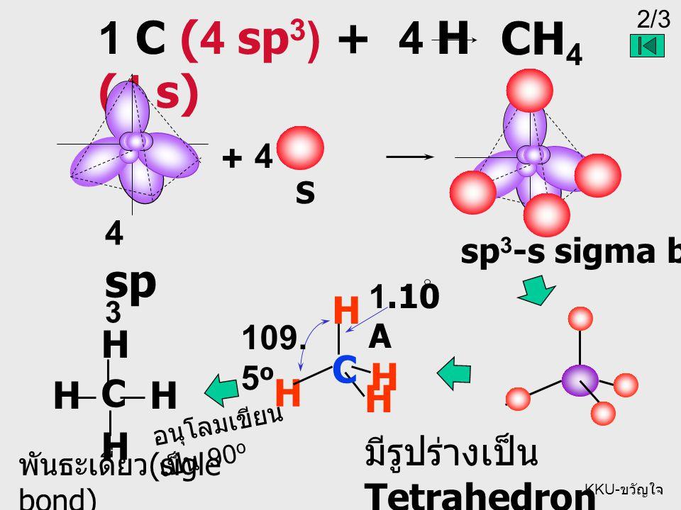 1 C (4 sp3) + 4 H (4 s) CH4 + C H C H มีรูปร่างเป็น Tetrahedron 4