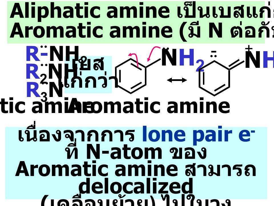 NH2 NH2 Aliphatic amine เป็นเบสแก่กว่า NH3 และ